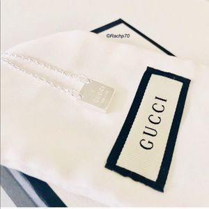 New Authentic GUCCI Logo Square Pendant Necklace